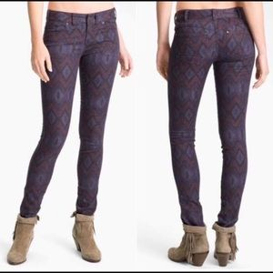 FREE PEOPLE Aztec Print Skinny Jeans. Size 30